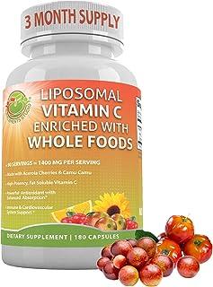 Liposomal Vitamin C Enriched with Organic Acerola Cherries & Camu Camu, Sunflower Lecithin, High Absorption,Potency & Bioa...