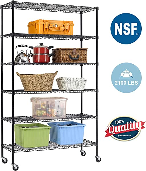 BestOffice 6 Tier Wire Shelving Unit Heavy Duty Height Adjustable NSF Certification Utility Rolling Steel Commercial Grade With Wheels For Kitchen Bathroom Office 2100LBS Capacity 18x48x82 Black