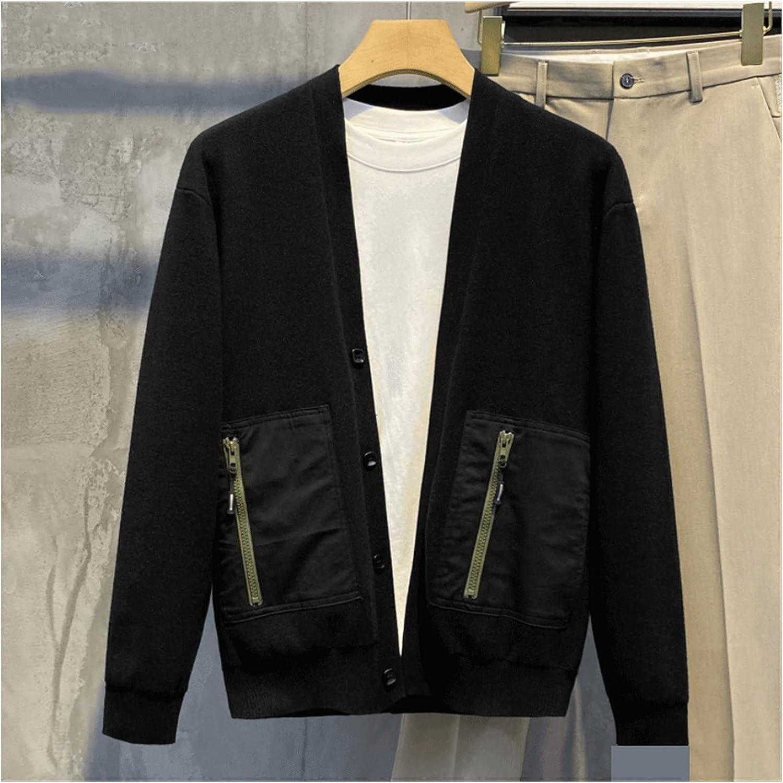 LSDJGDDE Knit Cardigan Stitching Zipper Pocket Decoration Men's Retro Slim Knit Cardigan (Color : Black, Size : L Code)