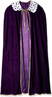 Robe for King and Queen | Purple Faux Velvet Cape for Medieval Costume, Prom, Mardi Gras Cloak, Halloween Costume | 4 feet 4 inches Long (1/pkg)