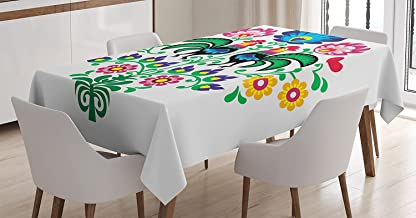 Gallos Decor Tablecloth by Ambesonne, Polish Embroidery with Roosters Garden Happy Fashion Celebration Spring Slav Poland Art, Dining Room Kitchen Rectangular Table Cover, 52 X 70 Inches