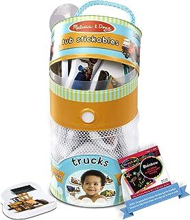 Trucks: Tub Stickables Soft Shapes Bath Toy & 1 Melissa & Doug Scratch Art Mini-Pad Bundle (31402)