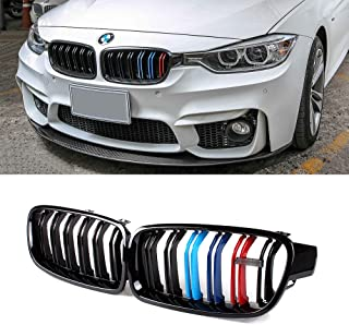 SNA Gloss Black ABS Front Kidney Grille with Double Slats M Color Stripes Mesh Grill Compatible for BMW 3 Series F30 F31 (2012-2018) 2-pc Set