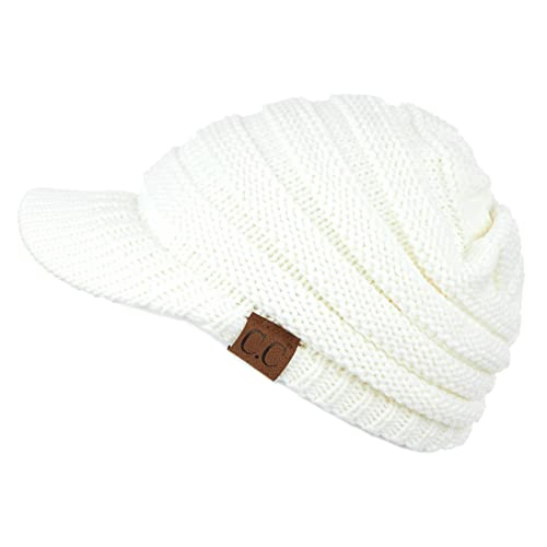 Knit Hat With Brim Amazon Com