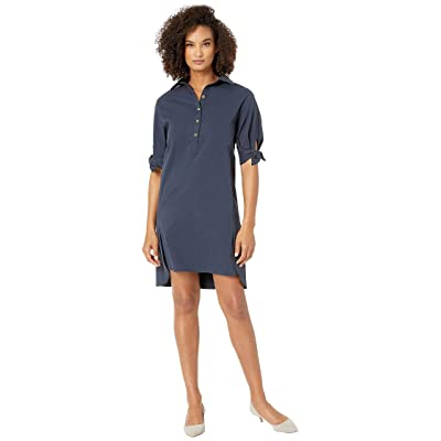 eci Solid Poly Cotton Twill Dress w/ Sleeve Detail (Navy) Women