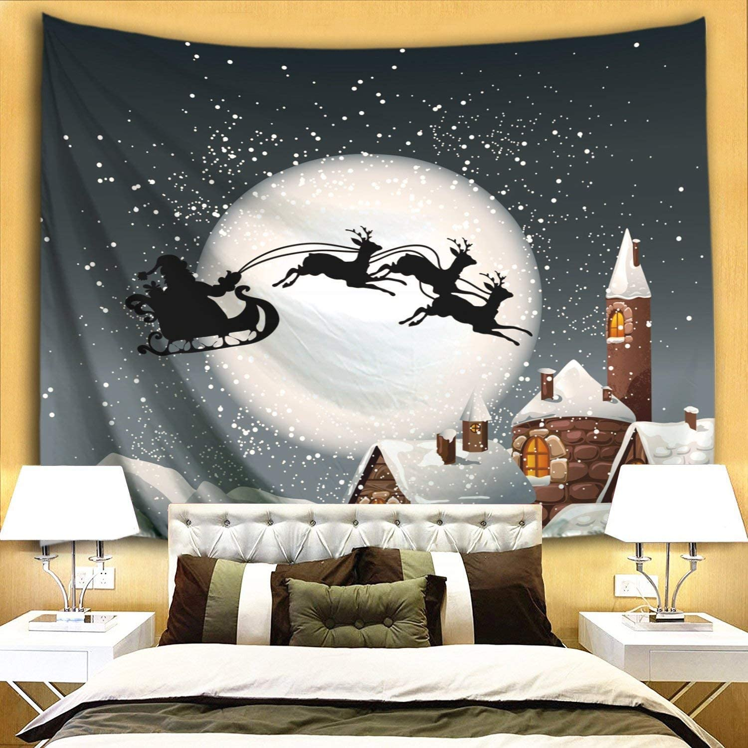 Christmas Flying Sled Tapestry Excellence Wall Hanging Finally resale start Tap Claus Santa Xmas