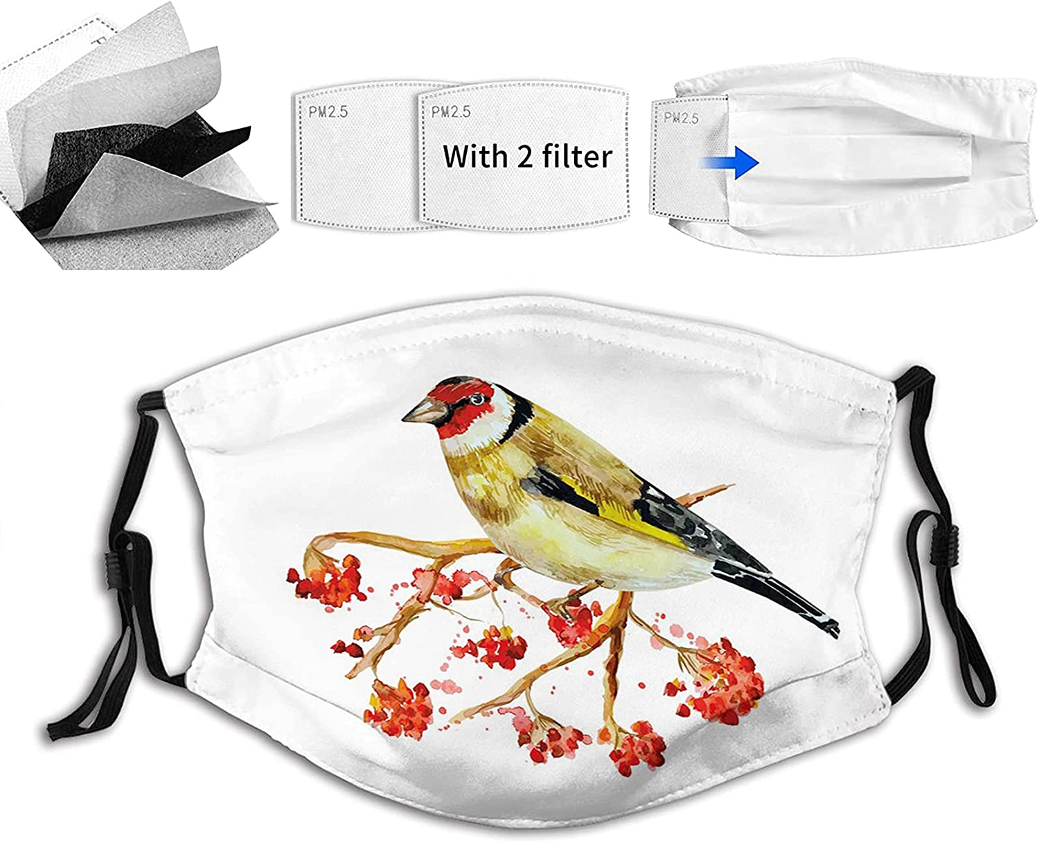 Watercolor Painting Style Cute Wild Bird Branch Berries with on Max San Diego Mall 56% OFF