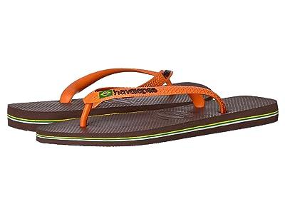 Havaianas Brazil Logo Flip Flops (Dark Brown/Orange 1) Men