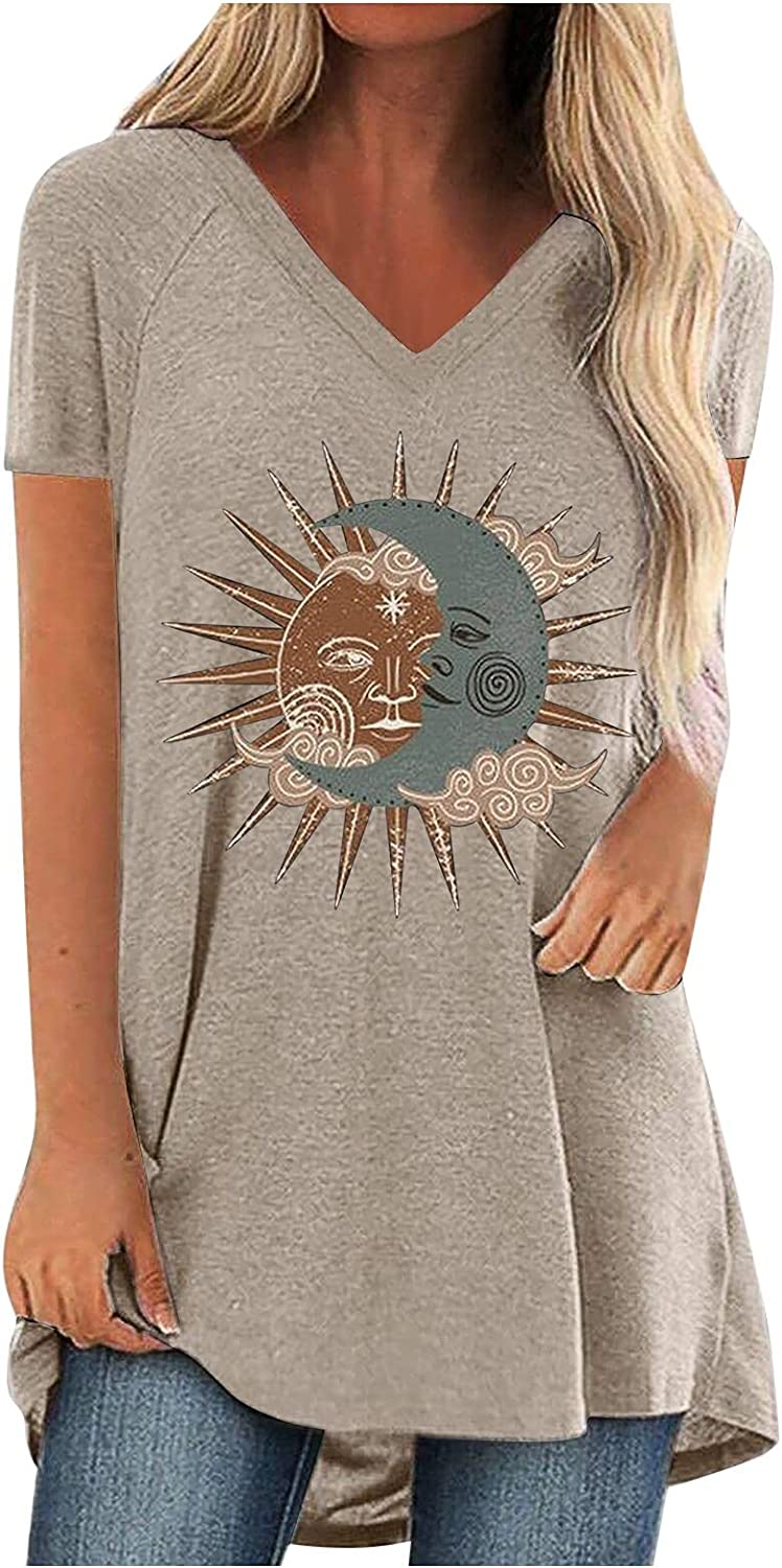 Tops Tunics for Women to Wear with Leggings Casual Loose Sun Moon Sunflower Print Fit V Neck Short/Long Sleeves T Shirt