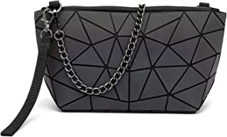 Geometric Luminous Women Crossbody Purse Holographic Reflactive Handbag with Metal Chain Long Strap and Wristlet
