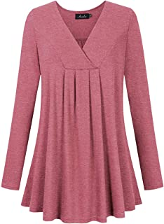 Women's Plus Size Pleated Henley Tops V-Neck Loose Blouse Casual Tunic Shirt