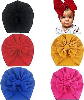 SuperiMan 5PCS Cotton Newborn's Bowknot Turban Headband Beanie Cap Infant Baby's Headwear for Photography Props