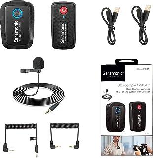 Sistema de micrófono inalámbrico de 2.4GHz para teléfonos inteligentes con cámara Saramonic Blink500 Micrófono ultracompacto de doble canal para cámaras DSLR sin espejo y de video Youtube