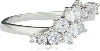 Esprit Ring Floating stones 925 Silver Rhodium Plated with 10 Zirconia (Silver) 53 white
