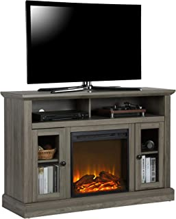 Ameriwood Home Chicago TV Stand with Fireplace, Rustic Gray