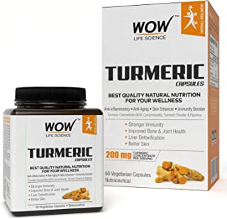 WOW Turmeric 200mg - 60 Vegetarian Capsules
