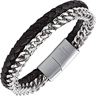 Mens Bracelets Leather Steel - Genuine Leather Braided...