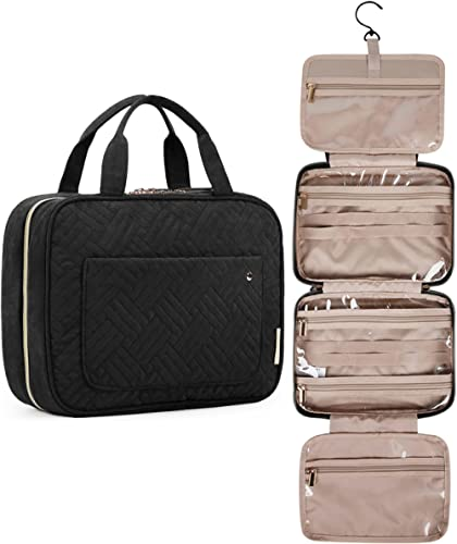 BAGSMART Toiletry Bag Travel Bag with Hanging Hook, Water-resistant Makeup Cosmetic Bag Travel Organizer for Accessor...