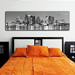 """WallsThatSpeak Panoramic Boston Cityscape Picture, Black and White Stretched Canvas Art Prints, Wall Decoration for Bedroom or Office, Framed and Ready to Hang, 14"""" x 48"""""""