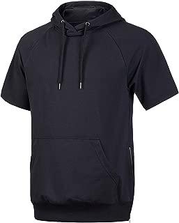 Hsumonre Men's Drawstring Hoodies Pullover Hip Hop Workout Short Sleeve Sweatshirts with Side Zip Pocket
