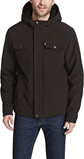 Men's Soft Shell Two Pocket Sherpa Lined Hooded Trucker Jacket