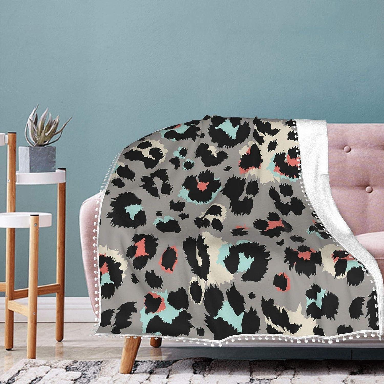 Grey Leopard Fleece Blanket with Fringe Pompom Air Summer Charlotte Mall Columbus Mall Condi