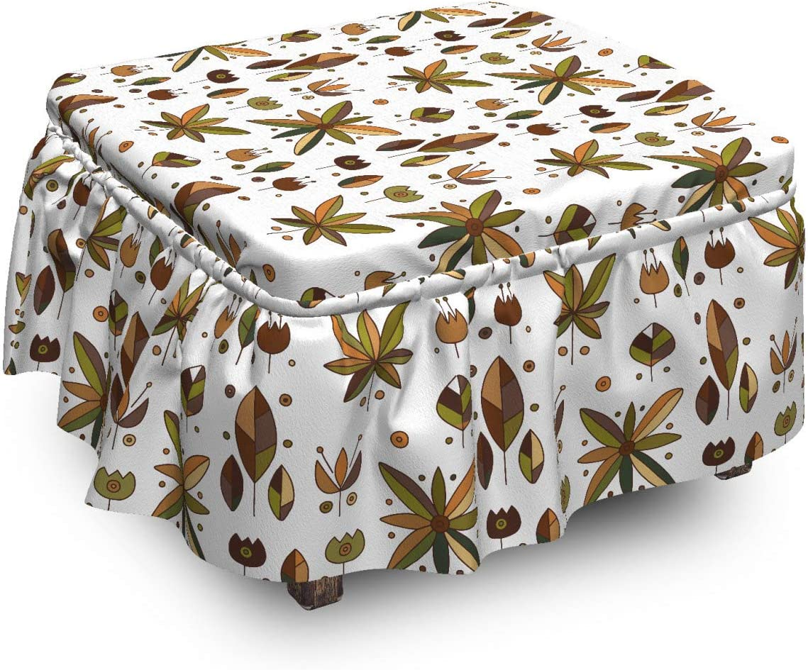 Ambesonne Max 46% OFF Floral Ottoman Cover Popular products Geometric 2 Tulips Flowers Piec