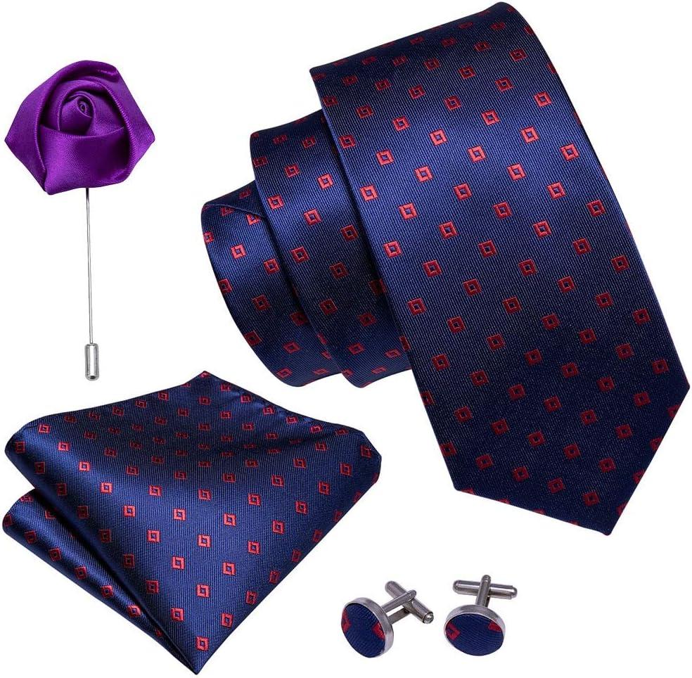 JIEIIFAFH Purple Floral Wedding Tie Compatible with Men Silk Necktie Brooch Handkerchief Sets Fashion Designers Ties Compatible with Men Groom Gifts