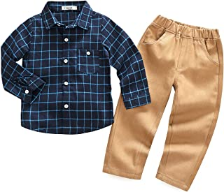 HUHUXXYY Baby Boys Autumn Long Sleeve Lattice Shirt and Matching Cotton Pants Set Kids Casual Outfit
