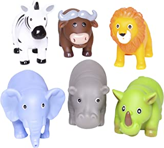 Elegant Baby Bath Time Fun Rubber Water Squirties, Jungle Party Bath Squirt Toys
