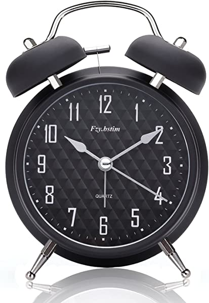 Fzy Bstim 4 Twin Bell Alarm Clock Battery Operated With Backlight Non Ticking Silent Alarm Clocks For Bedrooms Loud Alarm Clock For Heavy Sleepers Black