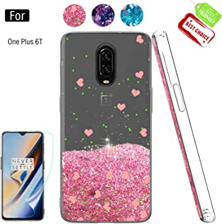 Compatible with OnePlus 6T Cases with Screen Protector for Girls Women, Luxury Bling Diamond Quicksand Liquid Clear TPU Protective Phone Case Phone Cover for OnePlus 6T Pink