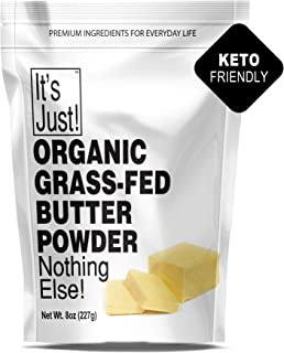 It's Just - Organic Butter Powder, Real Butter, Grass-Fed, Non-GMO, Made In USA, Keto Friendly, Energy Boost, Coffee, 8oz