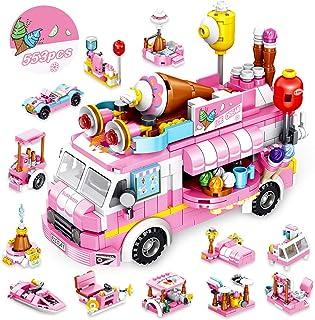 VATOS Girls Building Blocks Toys 553 Pieces Ice Cream Truck Set Toys for Girls 25 Models..