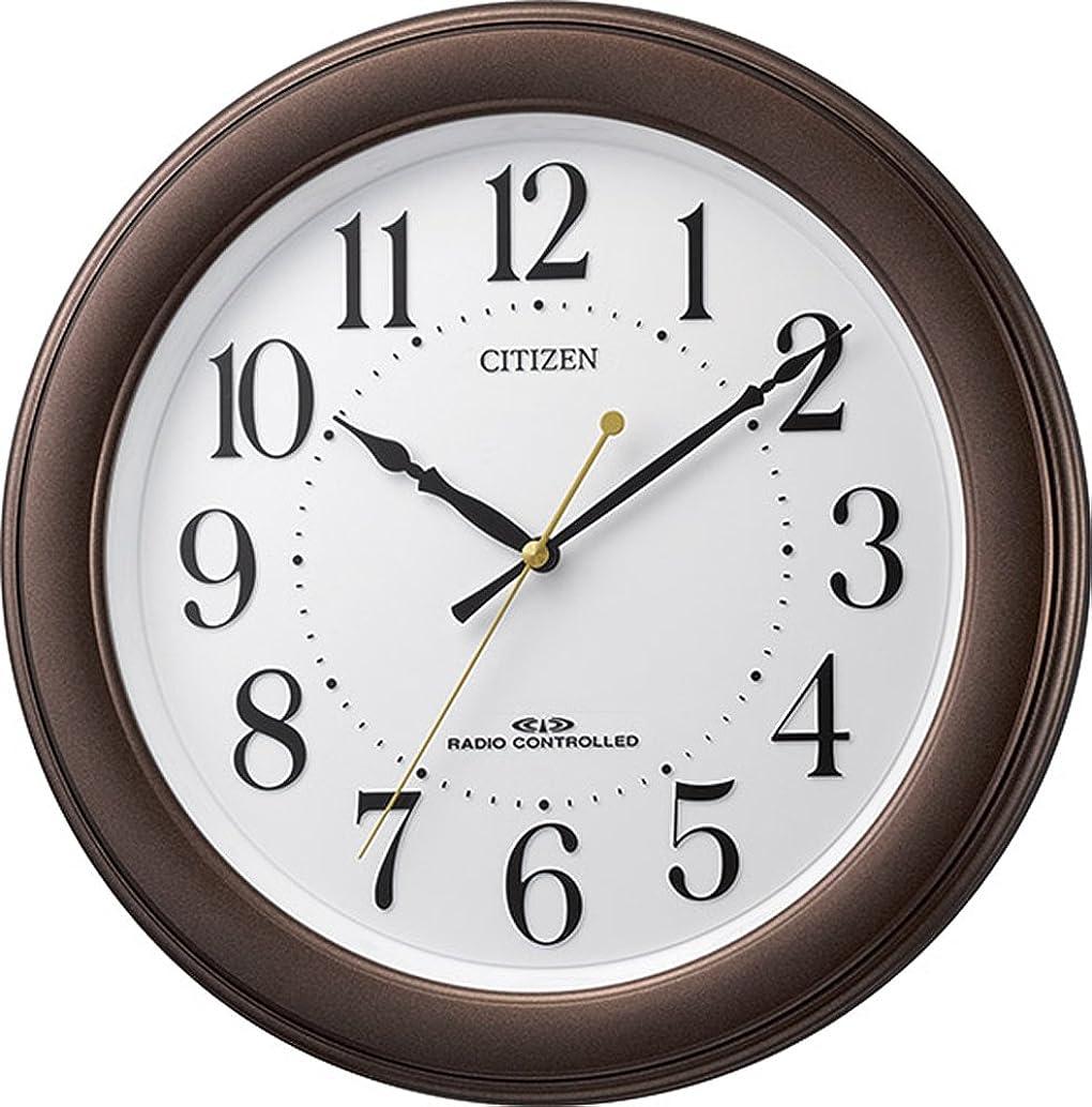 包帯起訴する密輸CITIZEN シチズン 掛け時計 電波時計 静音 ブラウン 8MY509-006