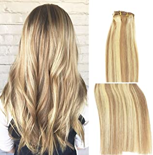 Vario Clip in Hair Extensions Human Hair Double Weft Brazilian Hair 22 Inch Mixed Bleach Blonde 7pcs 70g Set Silky Straight 100% Real Remy Human Hair Extensions Balayage Hair