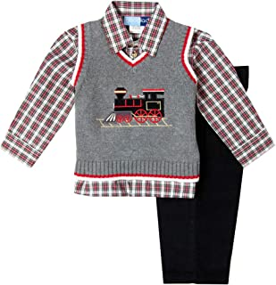 Sponsored Ad - Good Lad Newborn/Infant Boys Holiday Train Appliqued Three Piece Sweater Vest Set
