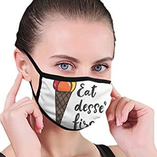 Fashion Windproof Facial decorations Unisex, Food Quote With Colorful Scoops Of Ice Cream On Waffle Cone Cartoon