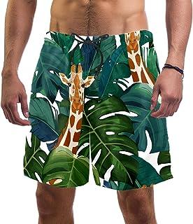 henghenghaha Mens Swim Shorts Waterproof Quick Dry Beach Shorts with Mesh Lining,White Exotic Palm Tree Giraffe