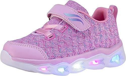 Zoneyue Girls Light-up Shoes Kids Fashion Luminous Flashing Lights Sneakers(Toddler/Little Kid)