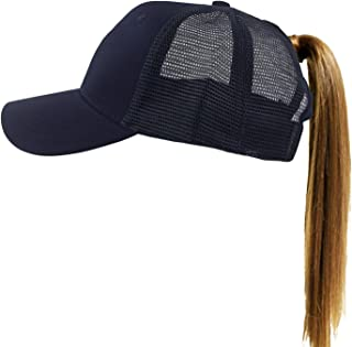Muryobao Women's Ponytail Baseball Cap Messy High Bun Adjustable Plain Trucker Dad Hat