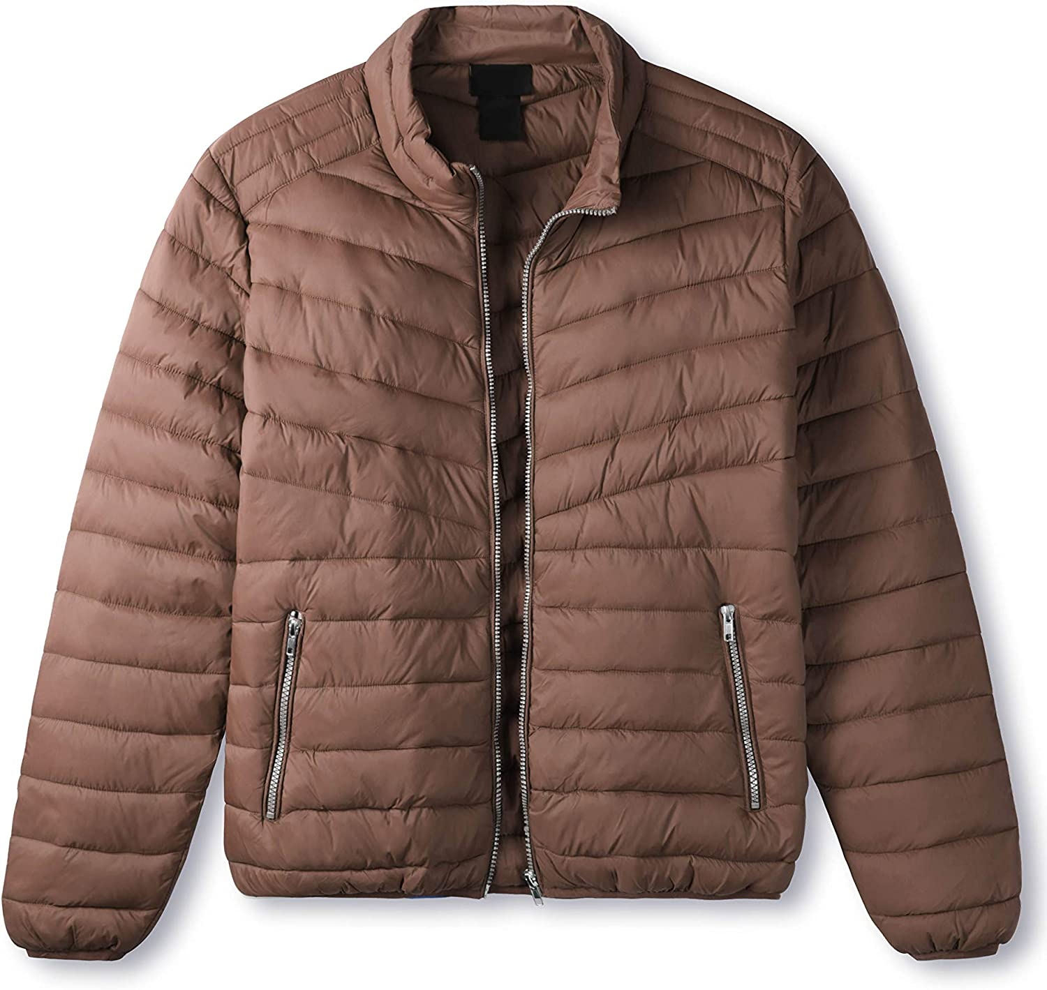 Hat and Beyond Mens Premium Lightweight Puffer Jacket Alternative Down Quilted Hiking Outerwear Parka Coat