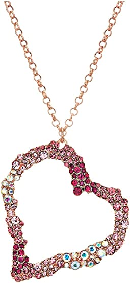 Betsey Johnson - Pink and Rose Gold Long Heart Pendant Necklace