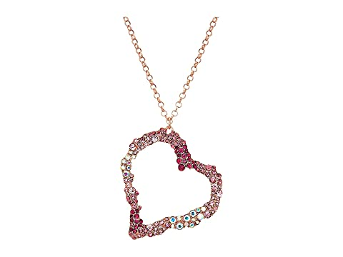 Betsey johnson pink and rose gold long heart pendant necklace at main mozeypictures Choice Image
