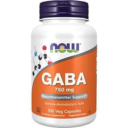 NOW Supplements GABA (Gamma-Aminobutyric Acid) 750 mg Neurotransmitter Support , 100 Veg Capsules