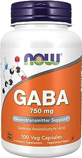 NOW Supplements, GABA (Gamma-Aminobutyric Acid) 750 mg, Neurotransmitter Support*, 100 Veg Capsules