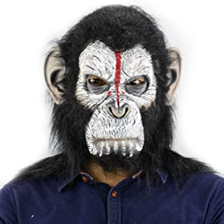 QTMY Latex Rubber Grotesques Ugly Horrible Apes Gorilla Monkey Mask with Hair for Halloween Party Costume (2)