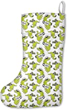 Large Dinosaur New York Van-osaur Green USA Christmas Stockings Mantel Decorations Ornaments for Family Holiday Party Decorations