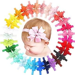 "Baby Girls Headbands 30 Colors/set 3"" Hair Bows Soft Elastic HeadBands for Newborn Infants Toddlers"