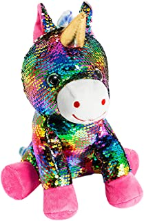 HollyHOME Sequins Unicorn Stuffed Animal Toy Reversible Rainbow Sequins Unicorn Gift for Kids 12 Inches